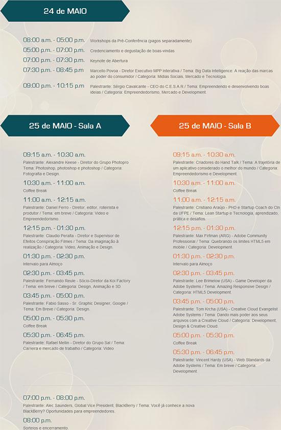 Grade dos horários e palestras da Adobe Camp 2013